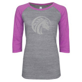ENZA Ladies Athletic Heather/Violet Vintage Baseball Tee-Bronco White Soft Glitter