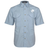 Light Blue Short Sleeve Performance Fishing Shirt-Bronco