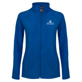 Ladies Fleece Full Zip Royal Jacket-Fayetteville State University Logo