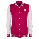 Ladies Pink Raspberry/White Fleece Letterman Jacket-Bronco