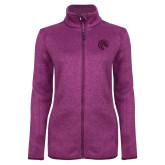 Dark Pink Heather Ladies Fleece Jacket-Bronco