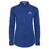 Ladies Royal Twill Button Down Long Sleeve-Fayetteville State University Logo