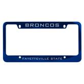 Metal Blue License Plate Frame-Broncos