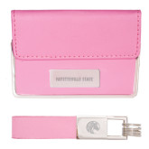 Business Card Case and Key Ring Set Pink-Fayetteville State Engraved