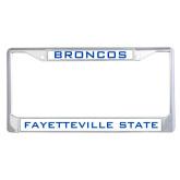 Metal License Plate Frame in Chrome-Broncos