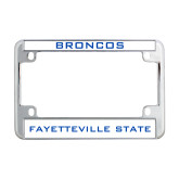 Metal Motorcycle License Plate Frame in Chrome-Broncos