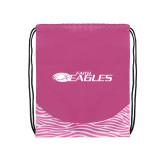 Nylon Zebra Pink/White Patterned Drawstring Backpack-Faith Eagles