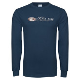 Navy Long Sleeve T Shirt-Distressed