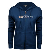 ENZA Ladies Navy Fleece Full Zip Hoodie-Faith Eagles