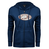 ENZA Ladies Navy Fleece Full Zip Hoodie-Eagle