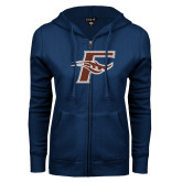 ENZA Ladies Navy Fleece Full Zip Hoodie-F