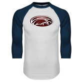 White/Navy Raglan Baseball T Shirt-Eagle