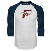 White/Navy Raglan Baseball T Shirt-F