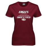 Ladies Maroon T Shirt-Track & Field