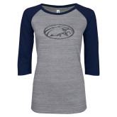 ENZA Ladies Athletic Heather/Navy Vintage Triblend Baseball Tee-Eagle Graphite Soft Glitter