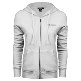 ENZA Ladies White Fleece Full Zip Hoodie-Faith Eagles