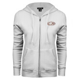 ENZA Ladies White Fleece Full Zip Hoodie-Eagle
