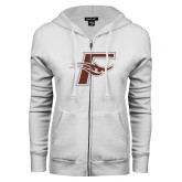 ENZA Ladies White Fleece Full Zip Hoodie-F