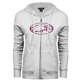 ENZA Ladies White Fleece Full Zip Hoodie-Eagle Pink Glitter