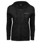 ENZA Ladies Black Fleece Full Zip Hoodie-Faith Eagles