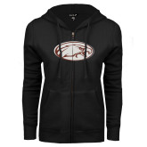 ENZA Ladies Black Fleece Full Zip Hoodie-Eagle
