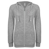 ENZA Ladies Grey/Black Marled Full Zip Hoodie-Faith Eagles