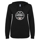 ENZA Ladies Black V Notch Raw Edge Fleece Hoodie-Basketball