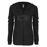 ENZA Ladies Black Light Weight Fleece Full Zip Hoodie-Eagle Graphite Soft Glitter