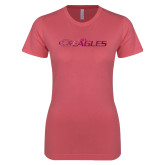 Next Level Ladies SoftStyle Junior Fitted Pink Tee-Faith Eagles Foil
