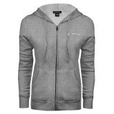ENZA Ladies Grey Fleece Full Zip Hoodie-Faith Eagles