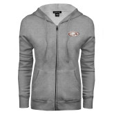 ENZA Ladies Grey Fleece Full Zip Hoodie-Eagle