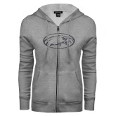 ENZA Ladies Grey Fleece Full Zip Hoodie-Eagle Graphite Soft Glitter