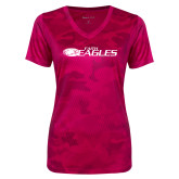Ladies Pink Raspberry Camohex Performance Tee-Faith Eagles