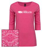 Ladies Dark Fuchsia Heather Tri Blend Lace 3/4 Sleeve Tee-Faith Eagles