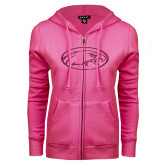 ENZA Ladies Fuchsia Fleece Full Zip Hoodie-Eagle Hot Pink Glitter