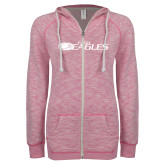 ENZA Ladies Hot Pink Marled Full Zip Hoodie-Faith Eagles