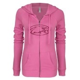 ENZA Ladies Hot Pink Light Weight Fleece Full Zip Hoodie-Eagle Hot Pink Glitter