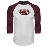 White/Maroon Raglan Baseball T Shirt-Eagle