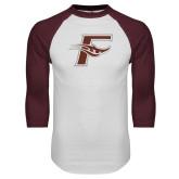 White/Maroon Raglan Baseball T Shirt-F