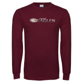 Maroon Long Sleeve T Shirt-Distressed