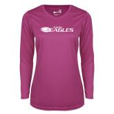 Ladies Syntrel Performance Raspberry Longsleeve Shirt-Faith Eagles
