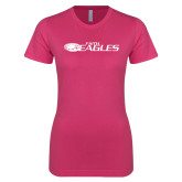 Ladies SoftStyle Junior Fitted Fuchsia Tee-Faith Eagles