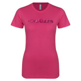 Ladies SoftStyle Junior Fitted Fuchsia Tee-Faith Eagles Foil