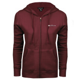 ENZA Ladies Maroon Fleece Full Zip Hoodie-Faith Eagles