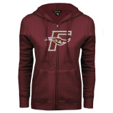ENZA Ladies Maroon Fleece Full Zip Hoodie-F
