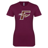 Next Level Ladies SoftStyle Junior Fitted Maroon Tee-F