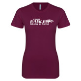 Next Level Ladies SoftStyle Junior Fitted Maroon Tee-Track & Field