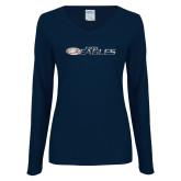 Ladies Navy Long Sleeve V Neck T Shirt-Faith Eagles