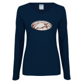 Ladies Navy Long Sleeve V Neck Tee-Eagle