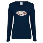 Ladies Navy Long Sleeve V Neck T Shirt-Eagle